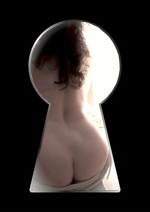 Silhouette of a woman figure seen through a key hole